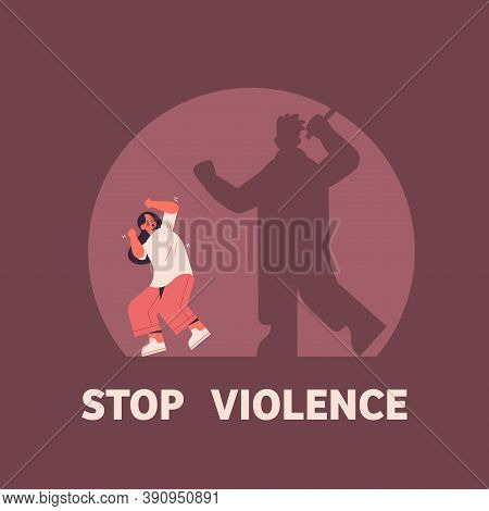 Shadow Of Angry Husband Punching And Hitting Wife Stop Domestic Violence Aggression Concept Full Len