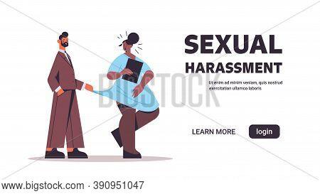 Businessman Molesting Female Employee Sexual Harassment At Work Concept Lustful Boss Touching Secret