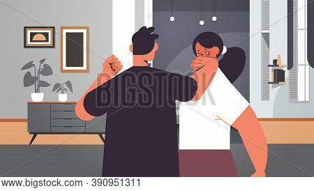 Angry Man Punching And Hitting Woman Stop Domestic Violence And Aggression Against Women Living Room