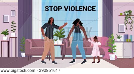 Angry Husband Punching And Hitting Wife With Daughter Stop Domestic Violence And Aggression Against