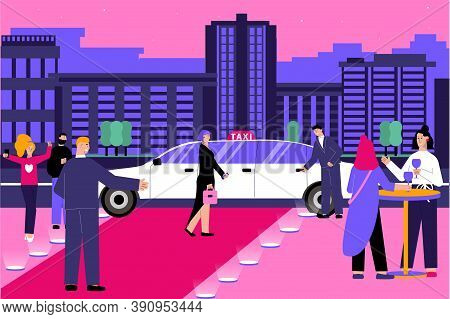 Vip Taxi Flat Composition With Evening Cityscape Scenery And Red Carpet With Human Characters And Li