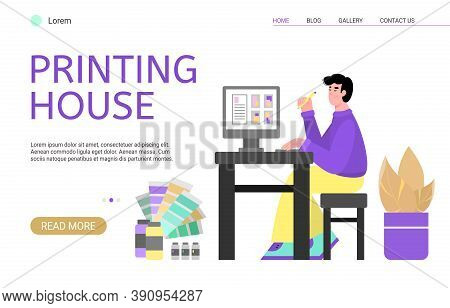 Creative Designer Working In Printing House, Publishing Or Advertising Agency Creates Art Digital La