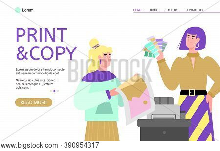 Print And Copy Service Website Interface Template With Cartoon Characters Of People Working On Moder