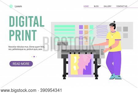 Website Page For Digital Print Service Cartoon Flat Vector Illustration. Polygraphy And Typography P