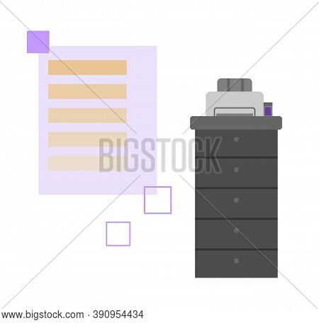 Modern Polygraphy Printing Equipment, Flat Cartoon Vector Illustration Isolated On White Background.