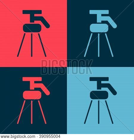 Pop Art Tripod Icon Isolated On Color Background. Vector Illustration