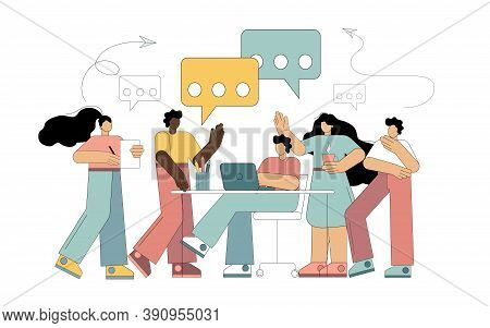 Collective Thinking And Brainstorming. A Multinational Group Of People Is Discussing, Looking For A