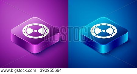 Isometric Round Wooden Shield Icon Isolated On Blue And Purple Background. Security, Safety, Protect