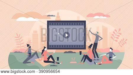 Movies Watching Outdoors In Park Or Garden With Friends Tiny Person Concept. Video Screen For Projec