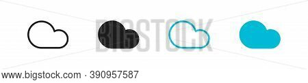 Cloud Network Storage Set Icon On White Backdrop. Technology Overcast Vector
