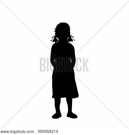Silhouette Little Girl Needs Help And Protection. Illustration Graphics Icon Vector