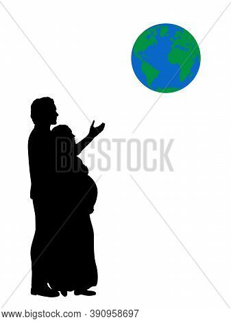 Silhouette Couple Expecting Baby Who Want To Give Child Whole World. Illustration Graphics Icon Vect