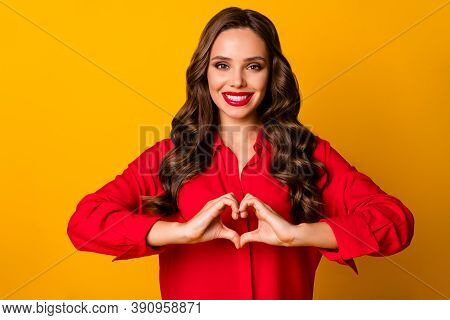 Photo Of Attractive Pretty Wavy Lady Hold Hands Fingers Making Heart Figure Symbol Romantic Mood Lov