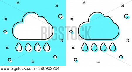 Black Line Cloud With Rain Icon Isolated On Green And White Background. Rain Cloud Precipitation Wit