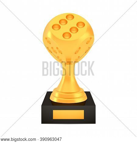 Winner Dice Cup Award On Stand With Empty Plate, Golden Trophy Logo Isolated On White Background, Ph