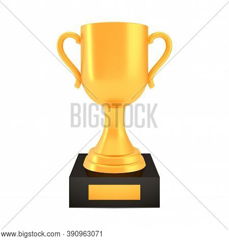 Winner Cup Award On Stand With Empty Plate, Golden Trophy Logo Isolated On White Background, Photo R