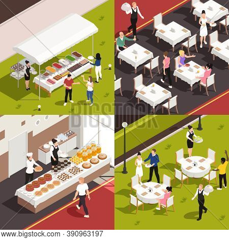 Catering Service Concept 4 Isometric Compositions With Banquette Buffet Corporate Lunch Outdoor Wedd