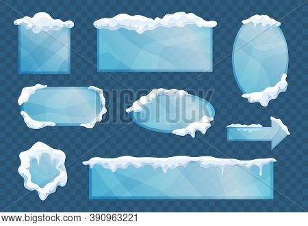 Snow Ice Cap Frames Decorative Elements Set With Rectangular Square Oval Arrow Shapes Transparent Ba