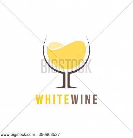 White Wine Logo Template, Colorful Vector Graphic Design Element For Business, Winery Company Brandi