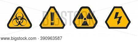 Set Of Hazard Warning Attention Sign, Biohazard Radiation And High Voltage, Danger Triangle Symbols
