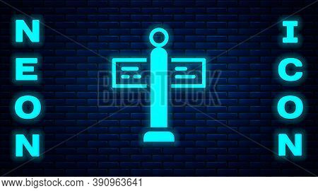 Glowing Neon Road Traffic Sign. Signpost Icon Isolated On Brick Wall Background. Pointer Symbol. Str
