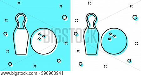 Black Line Bowling Pin And Ball Icon Isolated On Green And White Background. Sport Equipment. Random