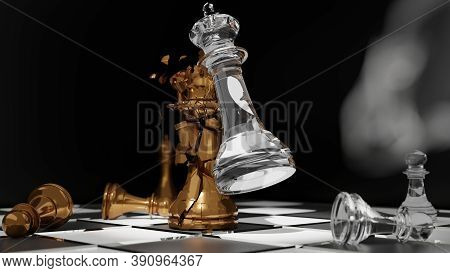 Hand Of Businessman Moving Chess Figure In Competition Success Play.gold And Glass Chess Battle,ches