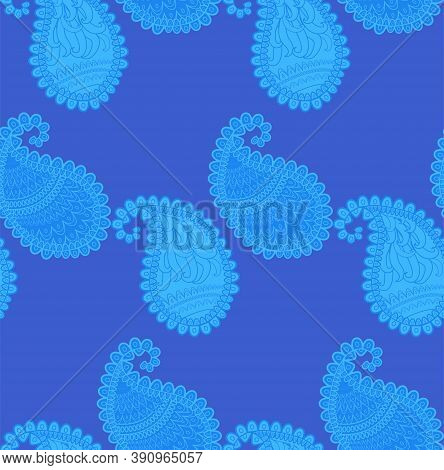 Seamless Pattern Of Beautiful Paisley Cucumbers Turkish, Indian, Persian, Mexican, African. Illustra