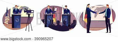Diplomacy And Diplomat Set With Cooperation Symbols Flat Isolated Vector Illustration