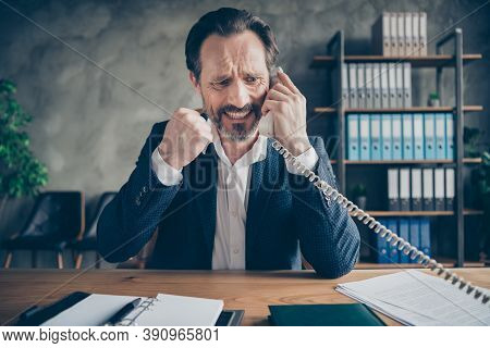 Close-up Portrait Of His He Desperate Depressed Miserable Fired Jobless Guy Employee Talking On Phon