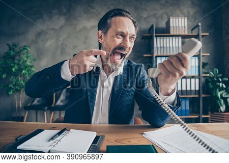 Close-up Portrait Of His He Desperate Furious Fury Evil Jobless Guy Employer Talking Yelling On Phon