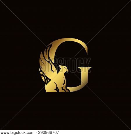 Griffin Silhouette Inside Gold Letter G. Heraldic Symbol Beast Ancient Mythology Or Fantasy. Creativ