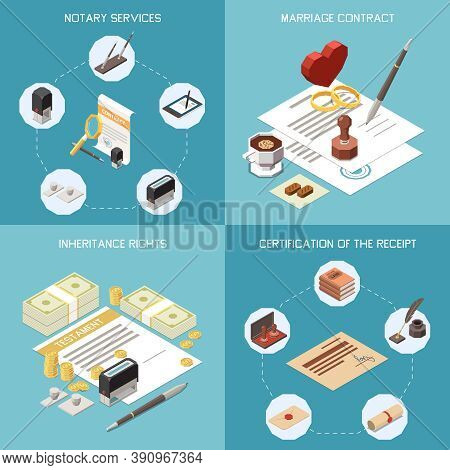 Notary Services 2x2 Design Concept Set Of Marriage Contract Inheritance Rights Certification Of Rece
