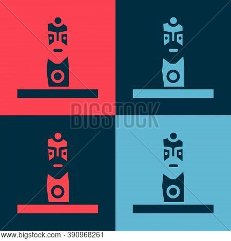 Pop Art Slavic Pagan Idol Icon Isolated On Color Background. Antique Ritual Wooden Idol. Vector