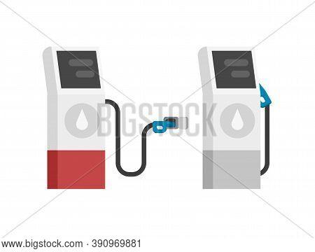 Gas Petrol Fuel Station Vector Modern Isolated Flat Cartoon Illustration, Gasoline Auto Refill Oil P