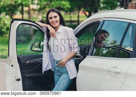Photo Of Positive Girl City Center Car Driver Stand Near Open Door Enjoy Automobile Summer Travel Ou