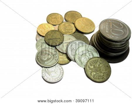 Russians Coins From Different Times Isolated