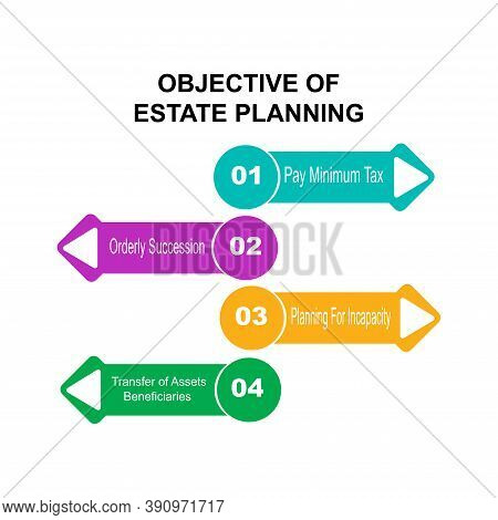 Diagram Of Objective Of Estate Planning With Keywords. Eps 10