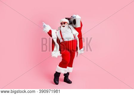 X-mas Tradition Modern Sale Ads. Full Length Photo Crazy White Grey Hair Beard Santa Claus Point Fin