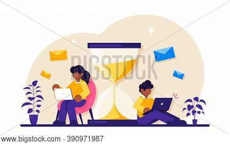 Man Working With Laptop Cartoon Character. Freelancer Using Computer. Businesspeople Following Time