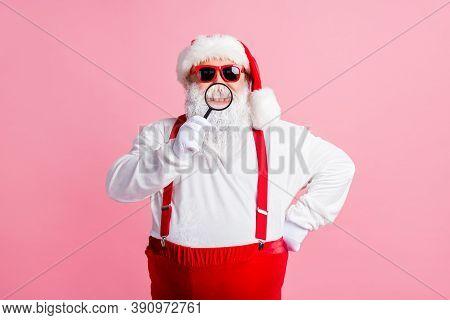 X-mas Christmas Medical Clinic Sales. White Grey Beard Hair Santa Claus Show Healthy Teeth Loupe Mag
