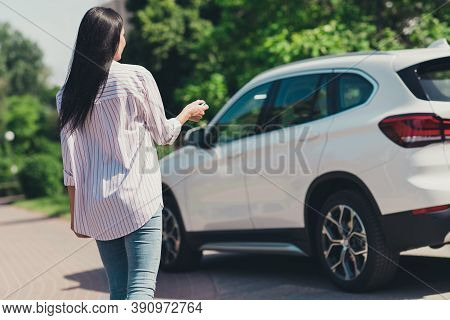 Back Rear Spine View Photo Of Girl New Car Owner Go Walk Auto Open Door Remote Keys Press Button In