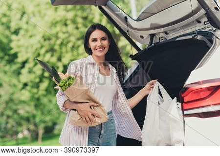 Portrait Of Her She Nice-looking Attractive Pretty Cheerful Cheery Lady Putting Fresh Gourmet Produc