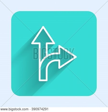 White Line Road Traffic Sign. Signpost Icon Isolated With Long Shadow. Pointer Symbol. Isolated Stre