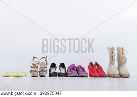 Womens Footwear Collection For Any Weather And All Seasons. A Row Of Womens Shoes