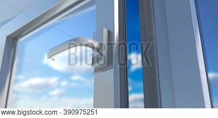 Pvc Aluminum Metal Frame With Two Glasses Closeup. 3D Illustration