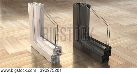 Pvc Aluminum Metal Frames With Two Glasses On Wooden Background. 3D Illustration