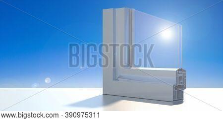 Pvc Aluminum Profile Frame Double Glazing Cross Section, Blue Sky Background. 3D Illustration