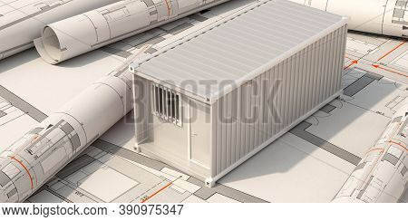 Construction Site Office, Cargo Container Model On Building Blueprint Plans Background. 3D Illustrat