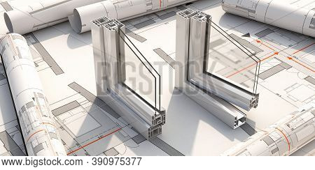 Pvc Aluminum Window Frame With Two Glasses On Drawing Background. 3D Illustration